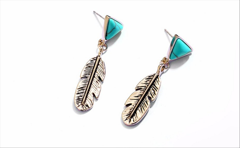 Champagne Gold Color Feather Drop Earrings for Women Triangle Simulated Turquoise Dangle Earring