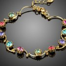 Vivid Rare Round Multicolor Ice Cream Crystal Gold Color Chain Tennis Bracelets