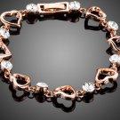Rose Gold Color Clear Stellux Austrian Crystal Heart Bracelet