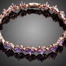 Elegant Rose Gold Color 19pcs Purple Cubic Zirconia Stones Bracelet
