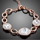 Water Drop Design Rose Gold Color Tiny Crystals Around 3pcs Clear Stellux Austrian Crystal Bracelet