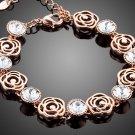Fancy Rose Gold Color With 7pcs Clear Stellux Austrian Crystal Flower Bracelet