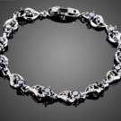 Unique Design With Round Cut Black Cubic Zircon Heart Bracelet for Lover's Gift