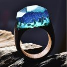 2017 Resin Secret Wood Rings For Women Magic Forest Wooden Ring Men Jewelry Fashion Blue Color