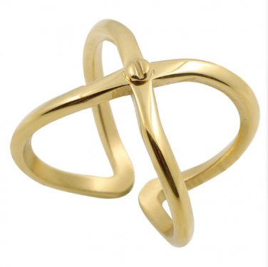Stainless Steel Cross Ring Hollow Gold Color Nail Open Finger Ring For Women and Men