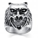 2017 Ring Cool Wolf Ring Stainless Steel Men Punk Biker Rings Witcher 3 Wolf Head Ring