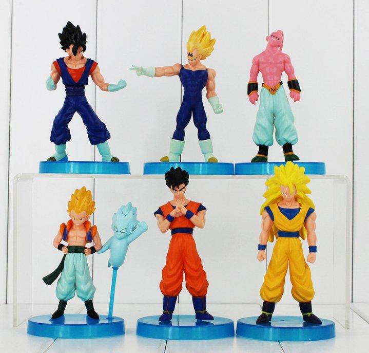 6pcs/lot Dragon Ball Z Figure Toys Goku Vegeta Buu Gohan Gotenks Cool