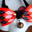 Safety Dog Cat Pet Collar Cute Bow Tie Dog Collars With Bell Puppy Kitten Necktie Red Square