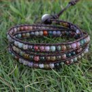 Trendy Leather Birthstone Bracelet Wrap Bracelet Beaded Bracelet 4mm Beaded Bracelet