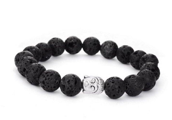 Natural Lava Stone Buddha Beads Bracelet Natural Stone Bead Healing Balances (Pumice)