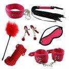 7pcs Beingner Fetish SM Slave Couple Handcuffs Bondage Sex Bed Restraints Kit (Red)