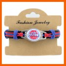 BASKETBALL BRACELET DETROIT PISTONS CHARM GENUINE LEATHER BRAIDED BRACELET