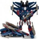 26cm Big Iron Man Hero aircraft Transformation Plastic Robot Deformation Kids Education Toy (Blue)