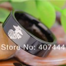 Black Pipe Army Military Marines Ring Mens Tungsten Carbide Wedding Ring