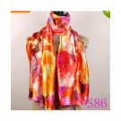 Lavender Red Black Lily Flower Satin Oil Painting Long Wrap Shawl Beach Silk Scarf 160X50cm S86