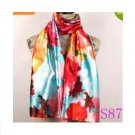Lavender Red Black Lily Flower Satin Oil Painting Long Wrap Shawl Beach Silk Scarf 160X50cm S87
