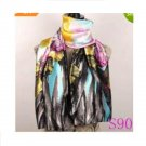 Lavender Red Black Lily Flower Satin Oil Painting Long Wrap Shawl Beach Silk Scarf 160X50cm S90