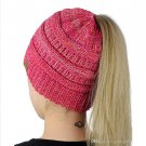 High Bun Ponytail Stretchy Knit Beanie Skull Hat women warm hat CC Trendy Warm winter knitted (F)