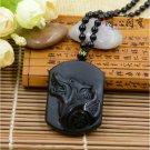 Black Obsidian Precious Stone Wolf Totem Pendant Necklace,Wolf Backer Healing Jewelry Unisex