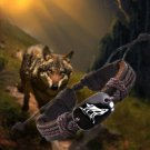1pcs Wolf5 Vintage Braided Woven Rope Leather Unisex Bracelet Yak Bone Carved Logo