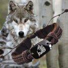 1pcs Wolf 7 Vintage Braided Woven Rope Leather Unisex Bracelet Yak Bone Carved Logo