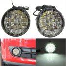 New 2Pcs 12V 18 LED Round Car Driving Daytime Running Light DRL Fog Lamp Bright White Car LED