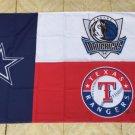 Dallas Cowboys Texas Rangers Dallas Mavericks Dallas 3 team flag 100D Polyester Flag
