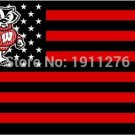 Wisconsin Badgers flag with us stars stripes 3ftx5ft Banner 100D Polyester Flag (STB)