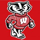 Wisconsin Badgers flag with us stars stripes 3ftx5ft Banner 100D Polyester Flag (STD)