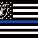 3x5ft Polyester Oakland Raiders Thin Blue Line Custom Flag with two metal Grommets white sleeve