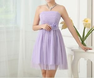 NEW Purple Bridesmaid Dress Strapless Girls Junior Teenager Tulle Chiffon Formal