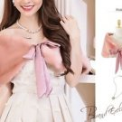 NEW Pink Faux Formal Fur Shrug Bridal Shawl Bolero Size M with Ribbon Ship Fast