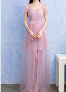 Cap Sleeve Long Sheer Tulle Bridesmaid Dress Pageant Dress Mini Lining One Size