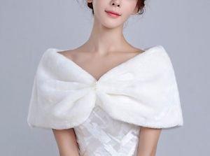 NEW Faux Fur Shawl Bolero Shrug Ivory Pearls Size M for bridesmaids formal dress