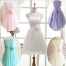 NEW Bridesmaid Dress Girls Junior Teenager Strapless Tulle Chiffon Formal XS S M