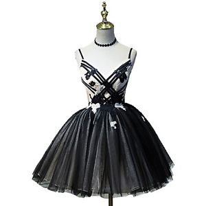 Hej!Fika Formal Evening Dress Black & White Spaghetti Pageant A-Line Princess