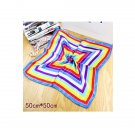New Rainbow Bandana Neckerchief Silk Scarf Bank Uniform Fashion Squared 20*20in