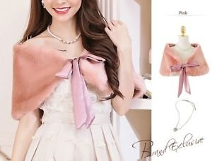 S-M Pink Deluxe Wedding Wrap Faux Fur Bridal Shawl Bolero Shrug Ribbons Closure