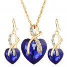 Gold Plated Heart Pendant Necklace & Earrings Set