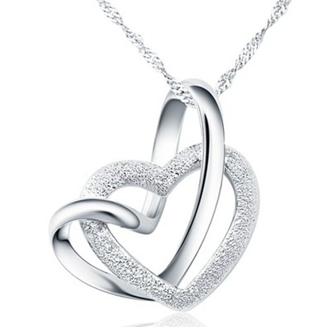 Double Heart Grind Arenaceous Silver Tone Pendant Necklace