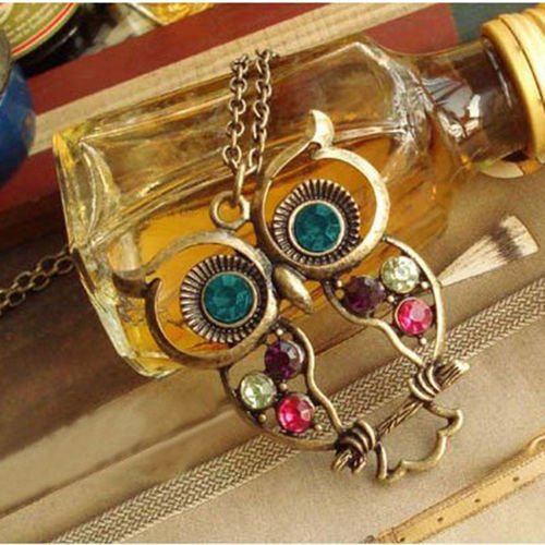 Crystal Owl Pendant Necklace Vintage Gold Long Chain Rhinestone - Antique Gold Plated