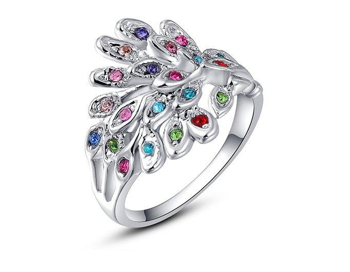 Austria Crystal Platinum Plated Peacock Ring