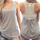 Women Summer Sleeveless Gray & White Striped Tank Top - Crochet Back