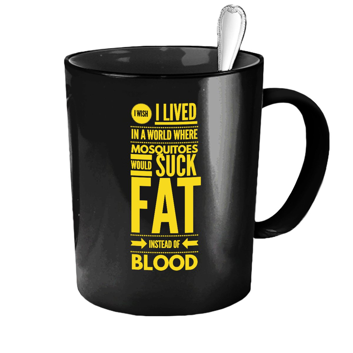 Funny Ceramic Coffee Mug - Fat Instead of Blood - Cute Large Cup (Black) - Best Gift for Men, Women