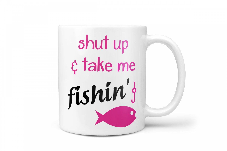 Fishing funny gifts ceramic coffee mug take me fishing for Fishing gag gifts