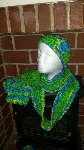 scarf, hat, gloves