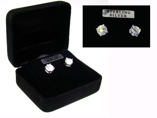 Sterling Silver CZ Studs Earrings in Black Gift Box