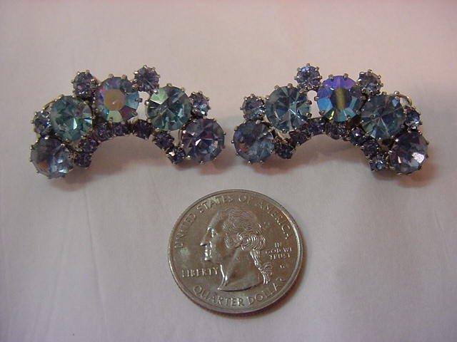 VINTAGE Large KARU ARKE Earrings Shimmering Blue Rhinestones FREE SHIPPING
