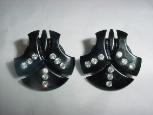 Vintage LUCITE Black Rhinestones Huge Fan Earrings FREE SHIPPING