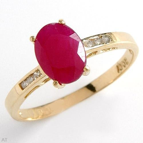 Colorful Brand New 1.46 ctw NATURAL RUBY and GENUINE DIAMONDS Solid Yellow Gold Ring FREE Shipping